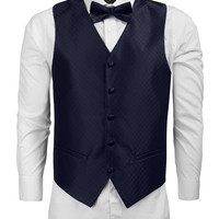 Mens Patterned Formal Button Down Vest with Bow Tie / Handkerchief