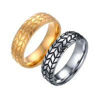 Hot Sale 6mm Stainless Steel Tire Grooved Ring Men Jewelry Rock Silver Gold Plated Punk Biker Rings Wedding Jewelry