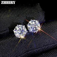 ZHHIRY Real Moissanite 925 Sterling Silver Earring For Women Stud Earring Total 2ct Each 1ct D VVS With Certificate Fine Jewelry