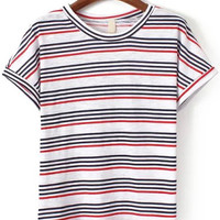 Red Striped Short Sleeve T-shirt