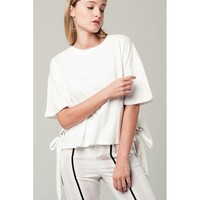 Eyelet lace up detail t-shirt in white