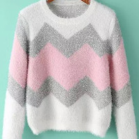 Color Block Wave Pattern Sweater