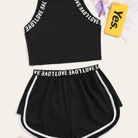 Letter Print Taped Cami Top & Contrast Trim Shorts