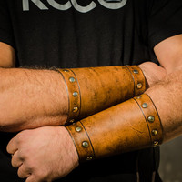Brown Studded Leather Bracers