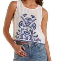 White Embroidered Chiffon Swing Tank Top by Charlotte Russe