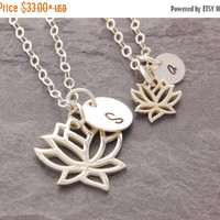 SALE: Mother Daughter Lotus Necklace, mom and daughter, pair necklaces, matching necklaces, mom necklace, flower necklace, handstamped, N10