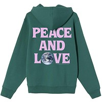 Peace & Love Hoodie Dark Green