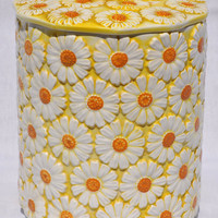 Vintage Yellow Daisy Cookie Jar 1960s