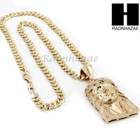 HIP HOP JESUS FACE PENDANT & DIAMOND CUT CUBAN LINK CHAIN NECKLACE N31