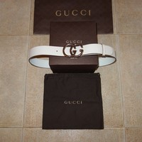 Gucci Runway DOUBLE G Leather Belt 90 cm (36 inch.) Made in Italy, C. RONALDO