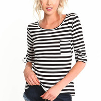 STRIPED ROLL UP SLEEVE SHIRT