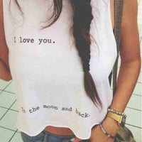 Cute I Love You Crop Top Tank