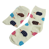 Women Winter Warm Soft Cotton Blend Socks Hedgehog Animal Cartoon Casual Girls Sock