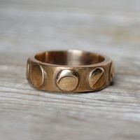 Moon Phases - Take your time loving me. White Bronze ring.