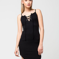 BETTER BE Ribbed Lace Up Dress   Short Dresses