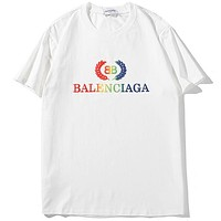 Balenciaga 2019 new wheat spike rainbow embroidery double B letter loose round neck T-shirt white