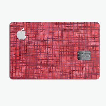 Red and Purple Watercolor Cross Hatch - Premium Protective Decal Skin-Kit for the Apple Credit Card