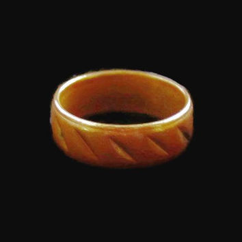 Copper Etched Wedding Band Ring Size 6 US