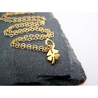 Tiny Clover Necklace - 14k Gold Fill Necklace - Simple Jewelry - Dainty Necklace - Gold Fill Jewelry - Gift for Her