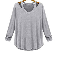 Light Grey Long Sleeve Plus Size Ruched Blouse