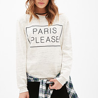 FOREVER 21 Paris Please Heathered Sweatshirt Oatmeal/Black