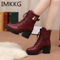 2018 Autumn Fashion Women Boots High Heels Platform Buckle Lace Up Zip PU Leather Short Booties Black Ladies Shoes V252