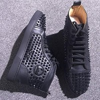 Christian Louboutin CL Louis Spikes Style #1888 Sneakers Fashion Shoes Online