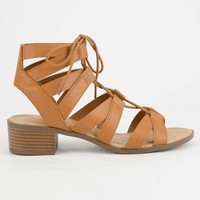 CITY CLASSIFIED Strappy Lace Up Cognac Womens Sandals