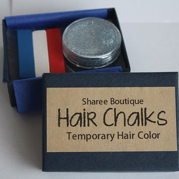 Red, White & Blue Hair Chalk Set with FREE Silver Glitter Hair Gel - Temporary Color Pastels - Fourth of July Set - America Holiday