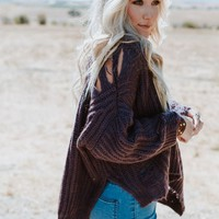 Full Of Treasure Cable Knit Distressed Sweater - Plum