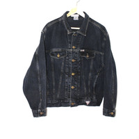 90s GUESS jean jacket unisex faded long black denim jacket medium