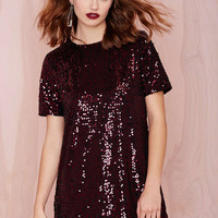 Wine Red Short Sleeve Sequined Mini Dress