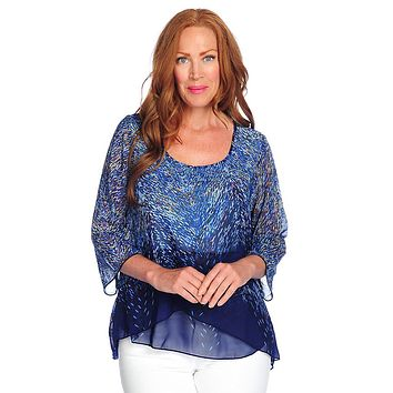 One World Printed Woven 3/4 Bell Sleeve Round Neck Tiered Top