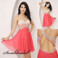 Coral One-shoulder Sexy Cocktail Club Dress Backless Short Party Prom