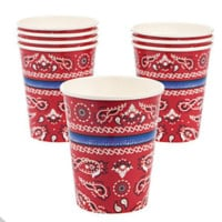 Cowboy Red Bandana Paper Cups (8 count)
