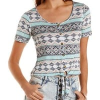 Lace-Back Printed Tie-Front Tee Tie-Front Tee
