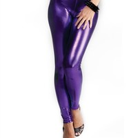Metallic Purple Leggings : Comfortable Legging Pants