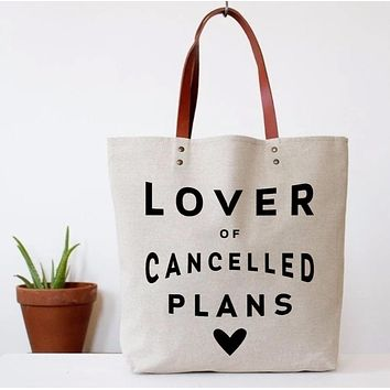 Lover of Cancelled Plans Canvas Tote Bag | Vegan Leather Handles