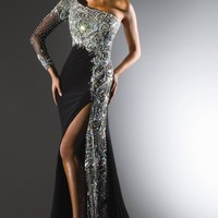 Asymmetrical Beaded Gown by Tony Bowls Collections