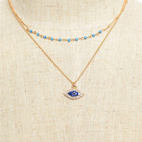 Evil Eye Layered Dainty Gold Necklace