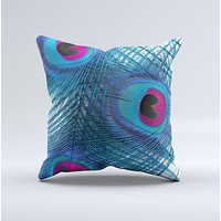 The Blue Peacock ink-Fuzed Decorative Throw Pillow