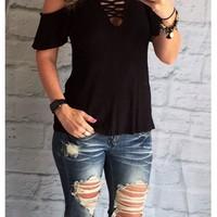 Passing Notes Cold Shoulder Top