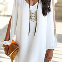 White Cut Out Long Sleeve Chiffon Shift Dress
