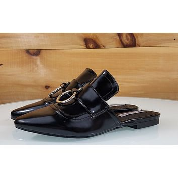 CR Pointy Toe Black Flats Mules Clog Bull Ring Shoe Slippers