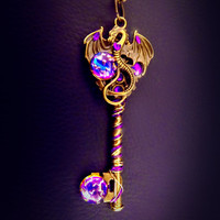Dragon necklace, A Game of Thrones necklace, key necklace, Dragon necklace, Victorian jewelry, magic necklace, purple steampunk key, OOAK