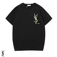YSL Fashion New Bust Side Embroidery Letter Women Men Leisure Top T-Shirt Black