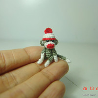 1 inch crochet christmas grey sock monkey - Tiny amigurumi crochet animal