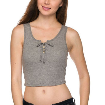 Ribbed Lace Up Crop Top - Gray