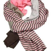 Pink and Gray Striped Scarf