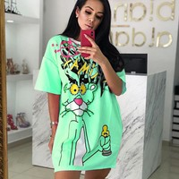 Pink Panther Summer Newest Fashionable Women Loose Short Sleeve Dress Green